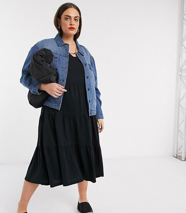 A plus-size model wearing a denim jacket.