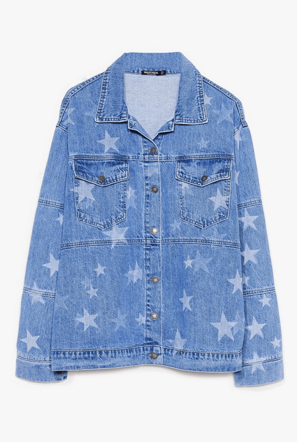 A plus-size star-adorned denim jacket.
