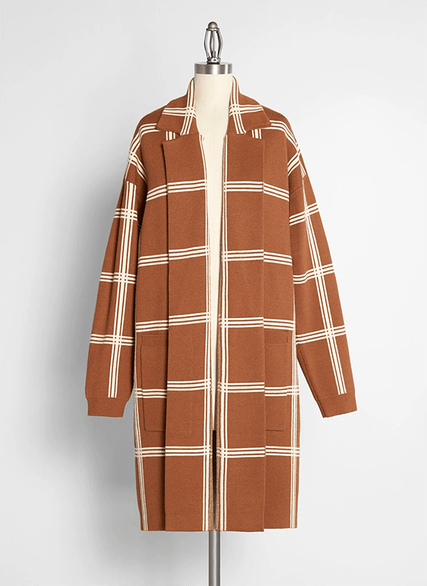 A plus-size plaid sweater coat.