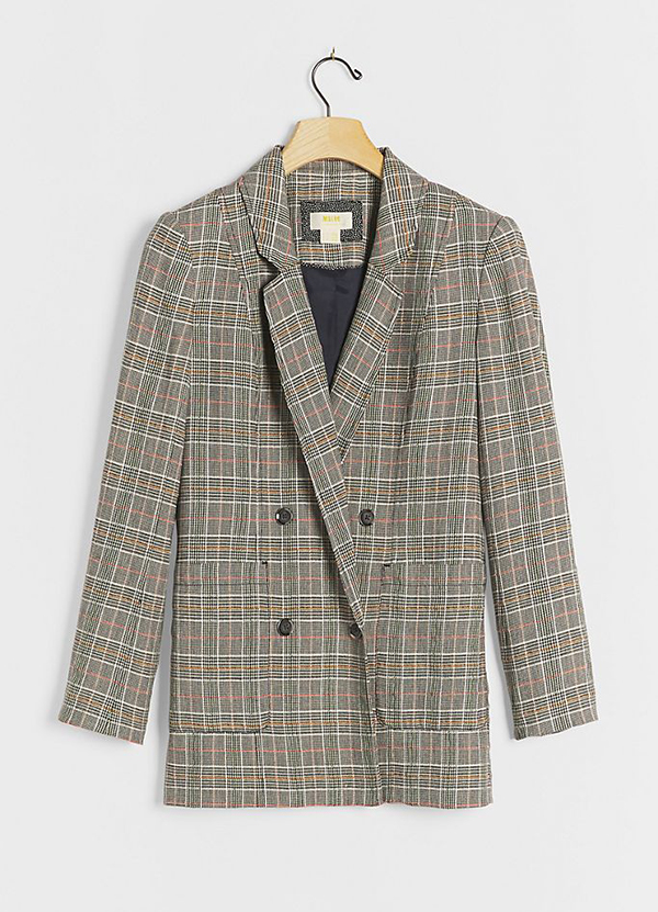A plus-size plaid blazer.