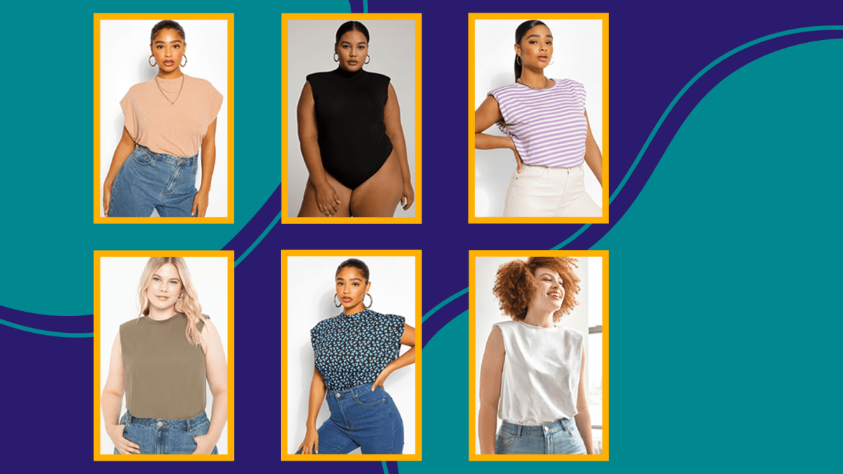 Plus-size models wearing plus-size shoulder pad tank tops, collaged over a graphic background.