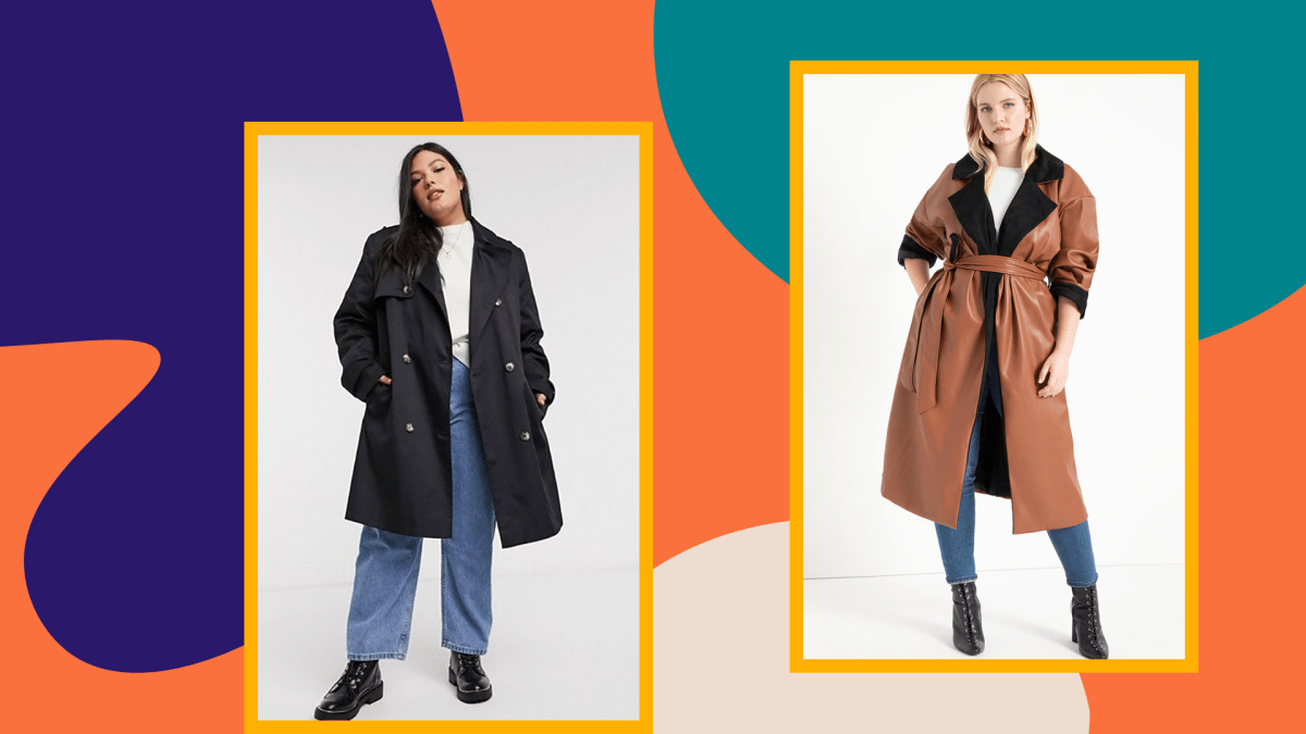 Two plus-size models wearing trench coats.