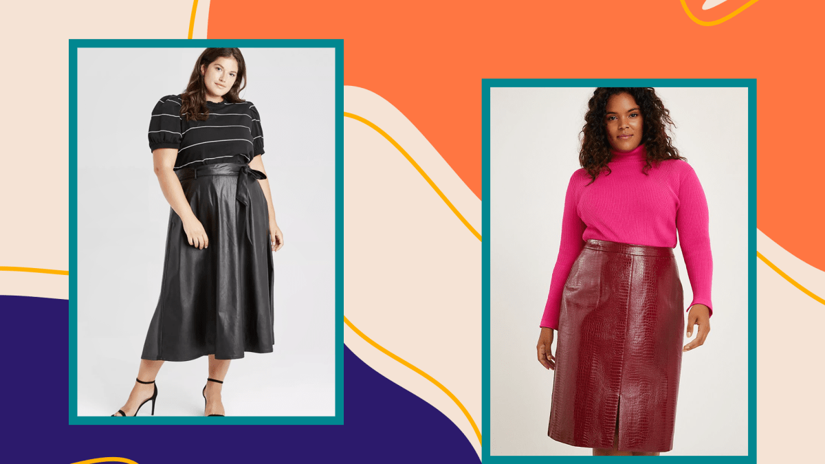 Two plus-size models wearing faux leather midi skirts.