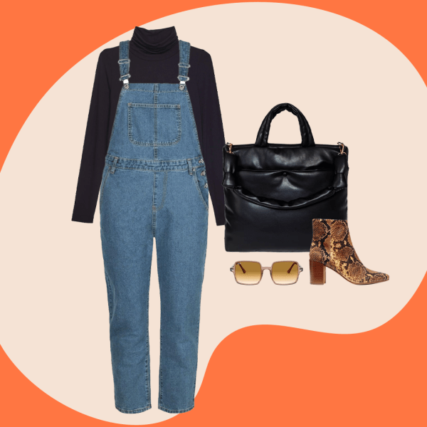 Plus-size overalls, a black turtleneck, black puffer tote, sunglasses, and a snake print booties.