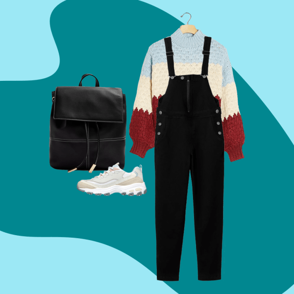 Black plus-size overalls, a striped sweater, black tote bag, and sneakers.