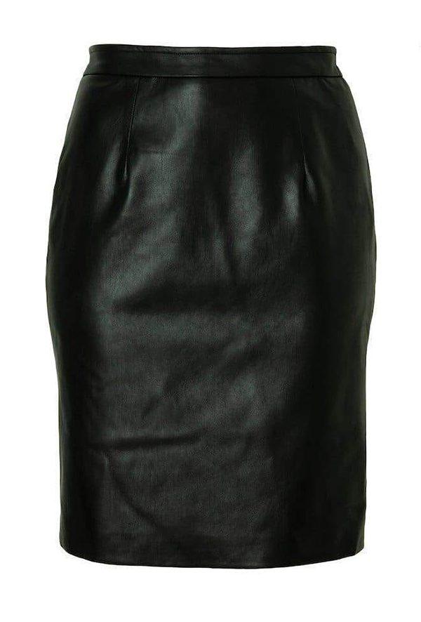 A plus-size black leather midi skirt.