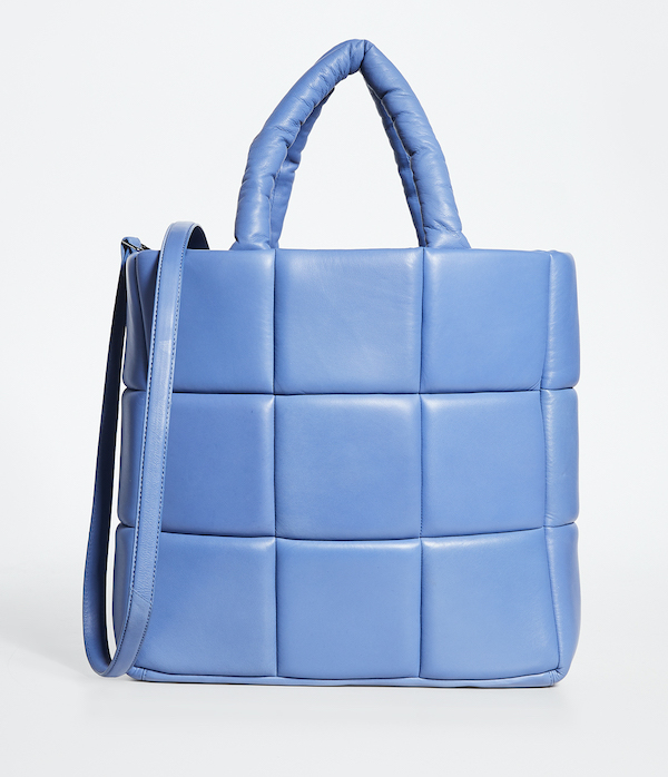 A light blue puffer tote.