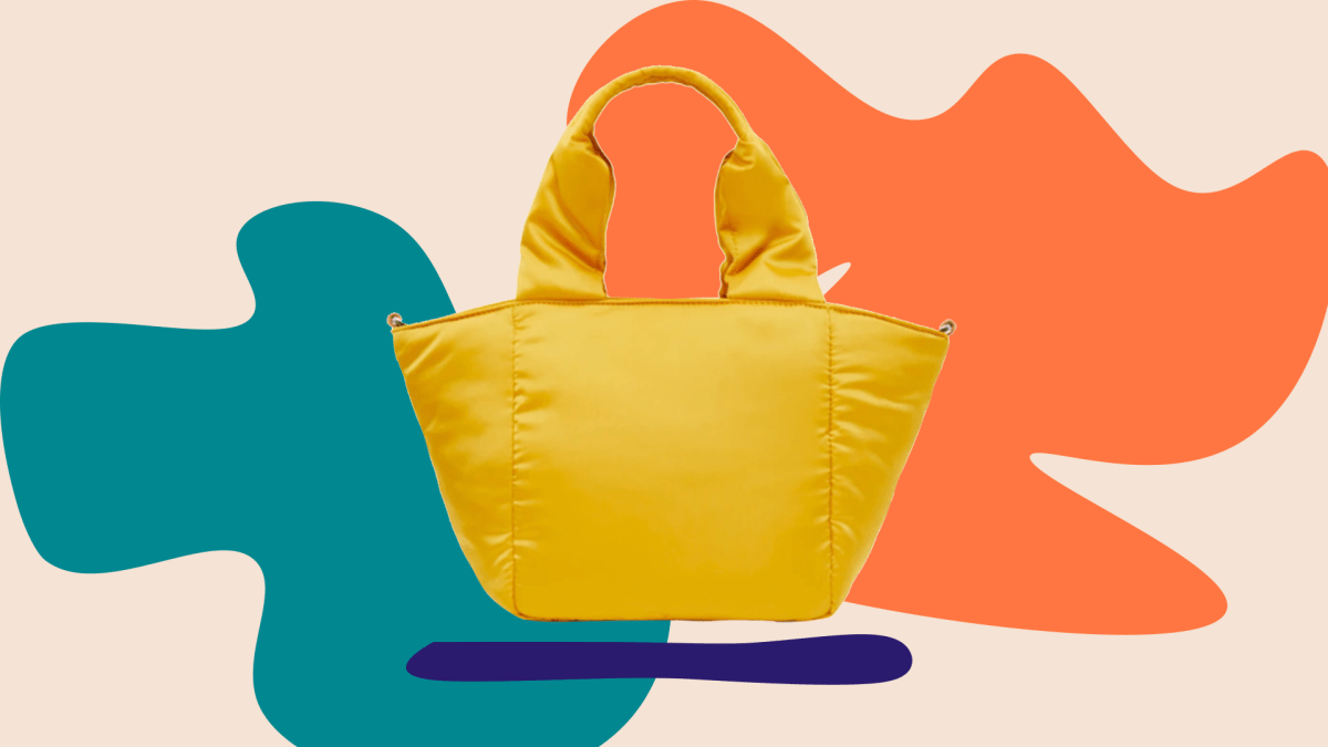 A yellow puffer tote.