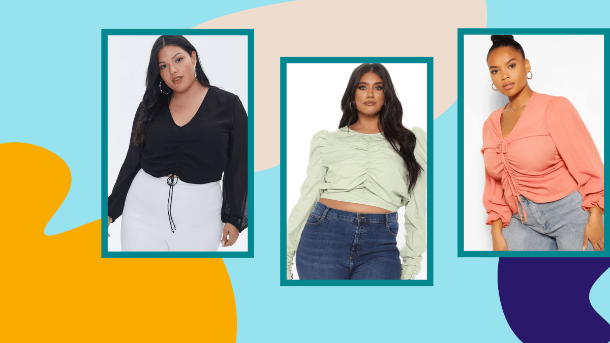 Three plus-size models wearing ruched tops.