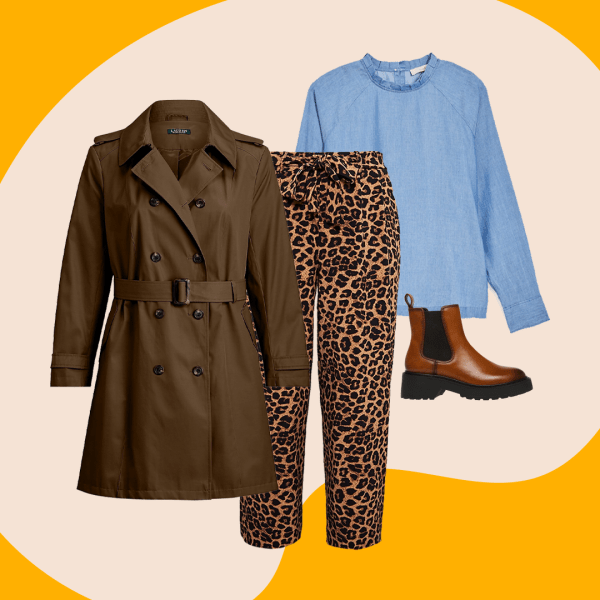 A collage with a dark green trench coat, leopard print pants, and a blue top.