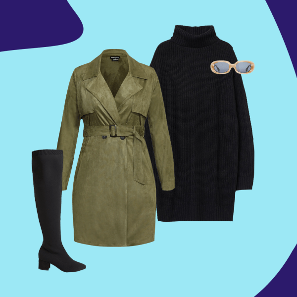 A collage with a green suede trench coat, black sweater dress, black boots, and sunglasses.