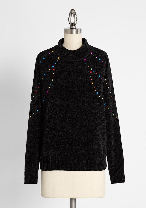 A black Christmas sweater from ModCloth.