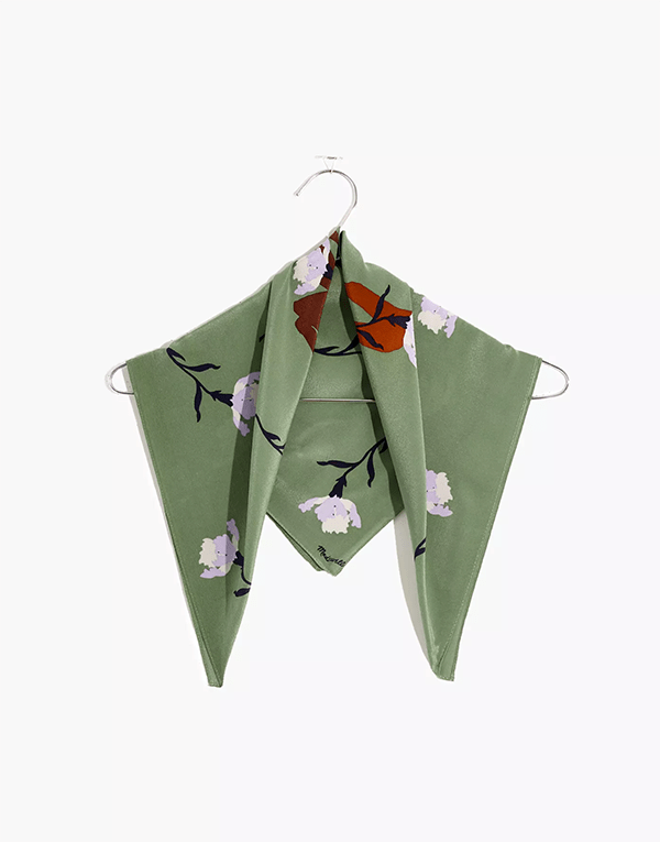 A green printed silk scarf, which will be marked down at Madewell's 2020 Black Friday sale.