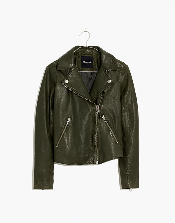 A plus-size olive green leather jacket, which will be marked down at Madewell's 2020 Black Friday sale.