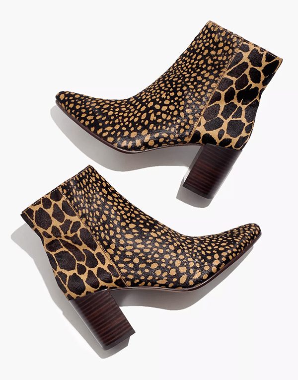 A pair of printed ankle boots, which will be marked down at Madewell's 2020 Black Friday sale.