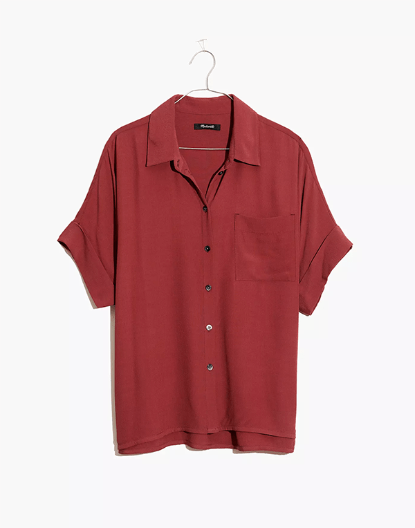 A plus-size red short-sleeve button-down, which will be marked down at Madewell's 2020 Black Friday sale.