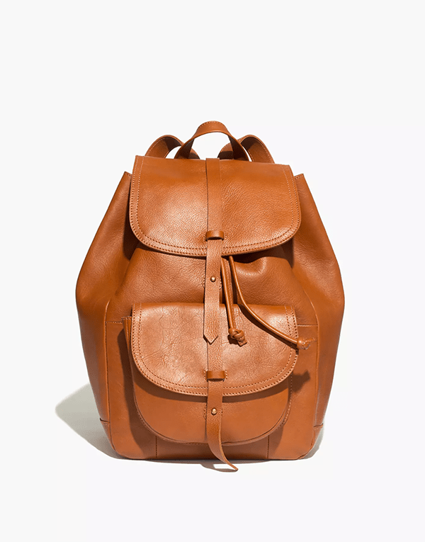 A brown leather backpack, which will be marked down at Madewell's 2020 Black Friday sale.