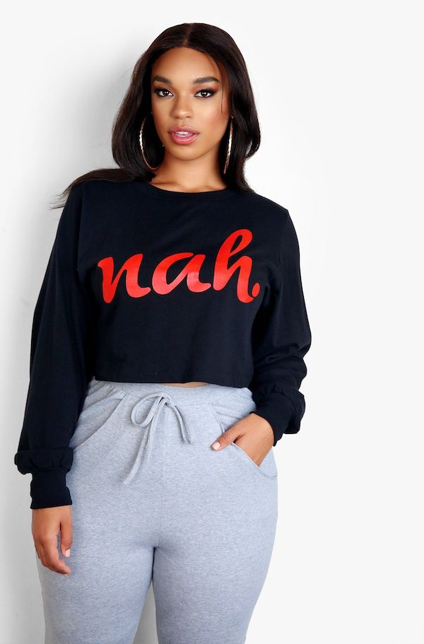 "A model from Rebdolls wearing a graphic tee that says ""nah"""