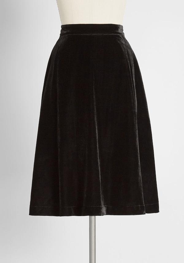 A midi velvet skirt from ModCloth.