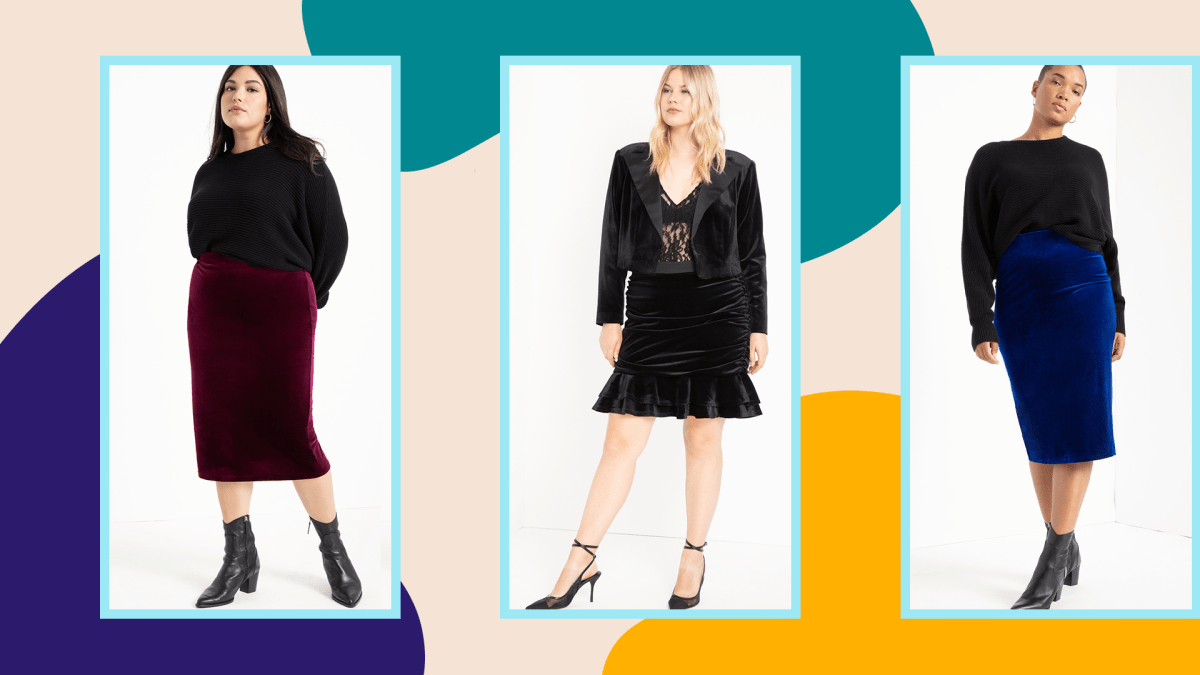 Three plus-size models wearing velvet skirts from ELOQUII.