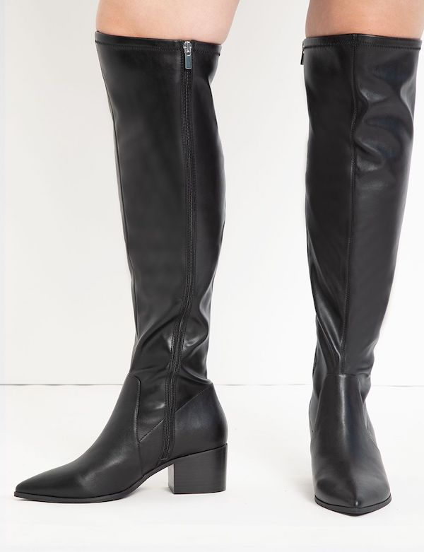 A pair of black leather wide-calf thigh-high boots.