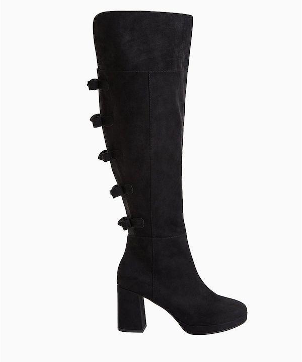 A pair of black wide-calf thigh-high boots.