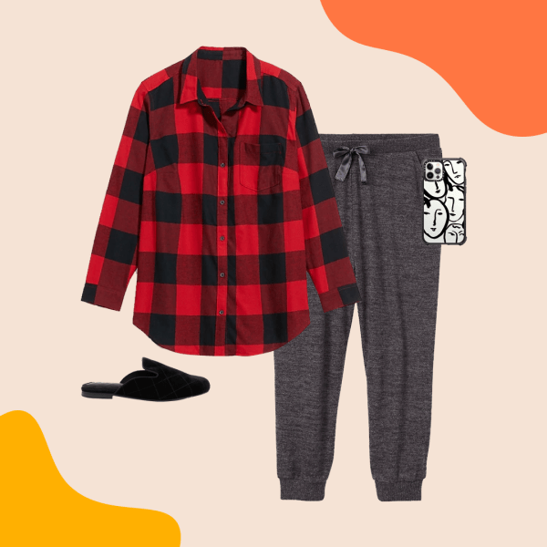 A red and black plaid shirt, gray joggers, black mules, and a phone case.