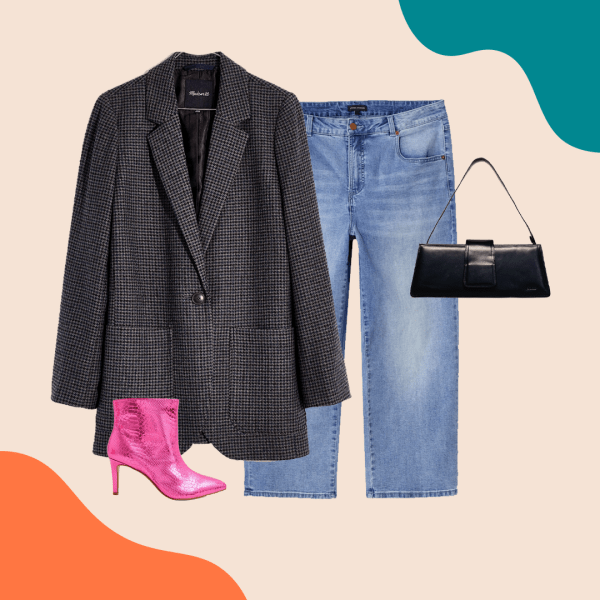 A dark gray blazer, light-wash jeans, pink booties, and a black purse.