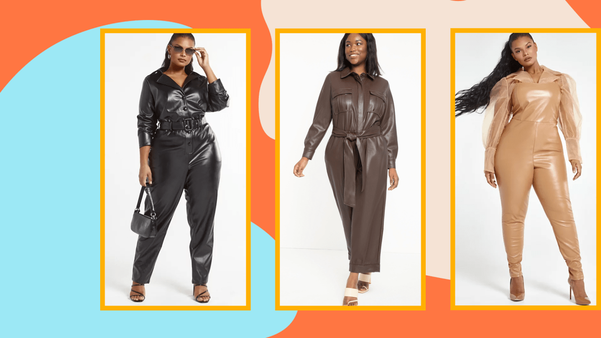 A model wearing a black plus-size jumpsuit, a model wearing a brown plus-size jumpsuit, and a model wearing a tan plus-size leather jumpsuit.