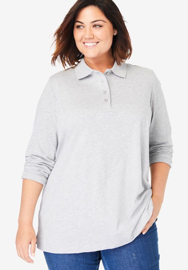 A model wearing a plus-size polo in gray.