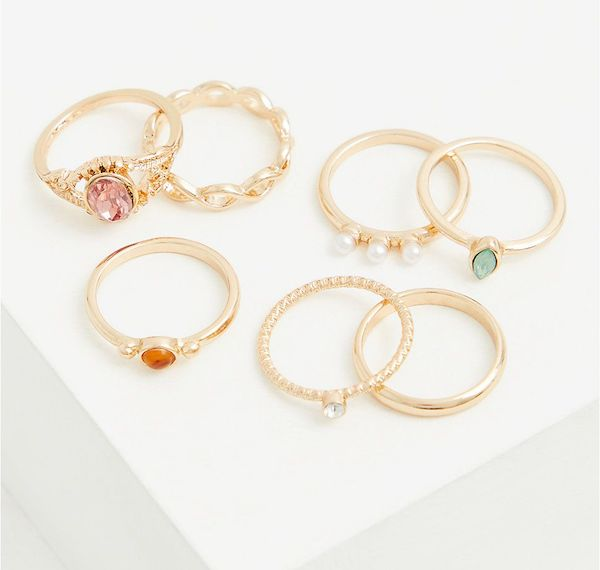 A plus-size set of gold rings.