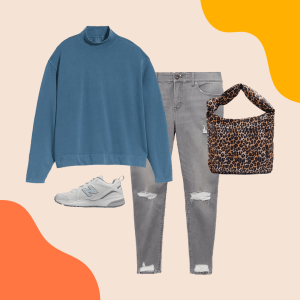A teal sweatshirt, gray ripped jeans, animal print purse, and white sneakers.