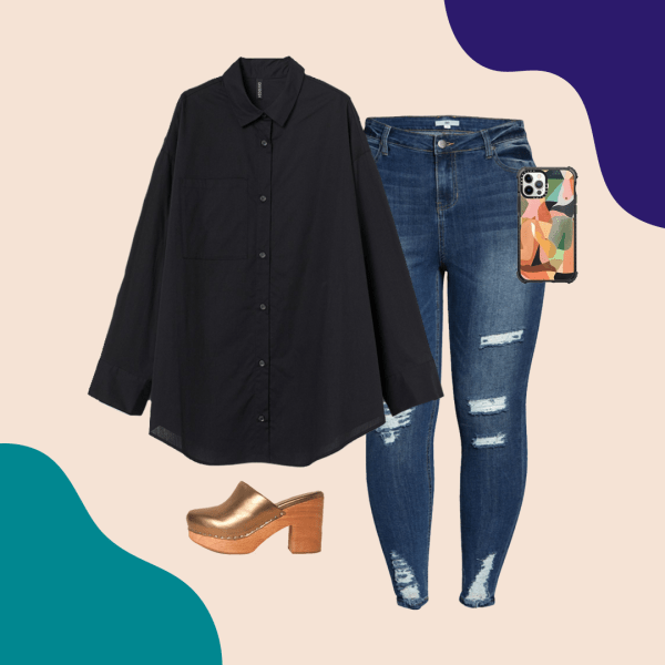 A black blouse, ripped dark jeans, gold mules, and phone case.