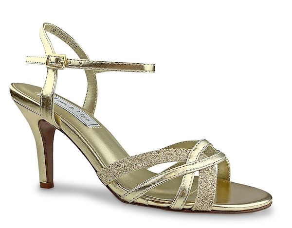 Sparkly gold wide-fit heels.