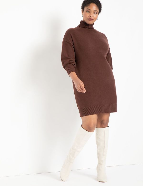 A model wearing a plus-size brown sweater dress.
