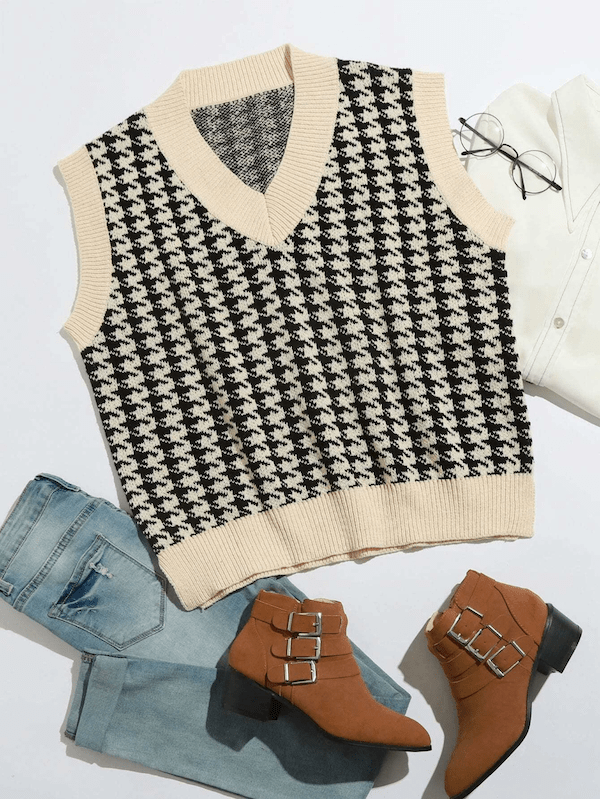 A plus-size sweater vest in houndstooth.