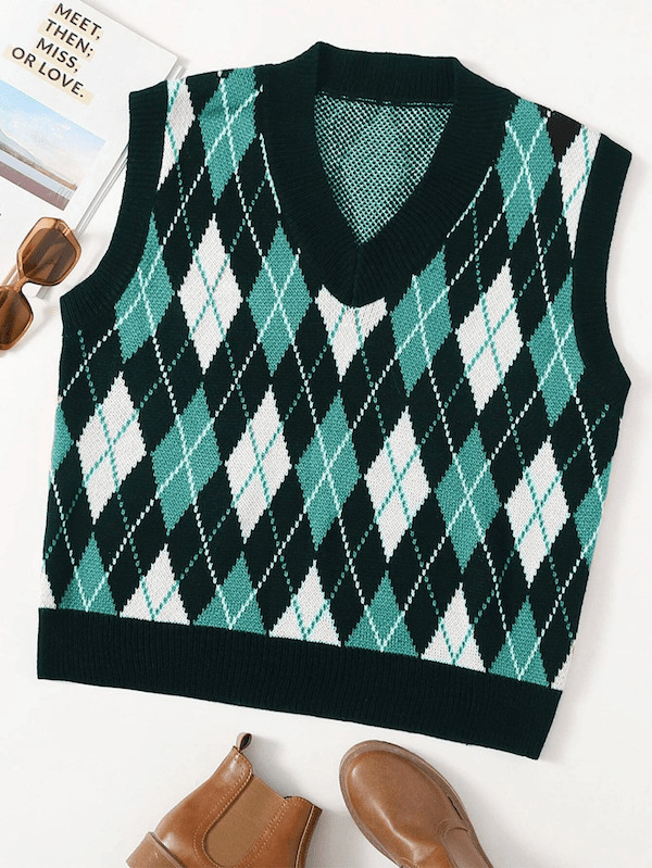 A plus-size sweater vest in blue and green argyle.