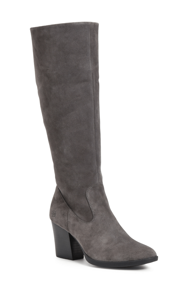 Wide-calf knee-high boots in dark gray.