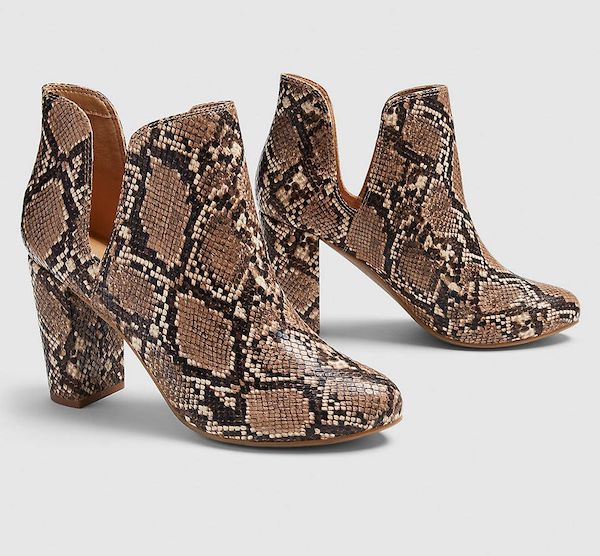 Wide-fit ankle boots in snake print.