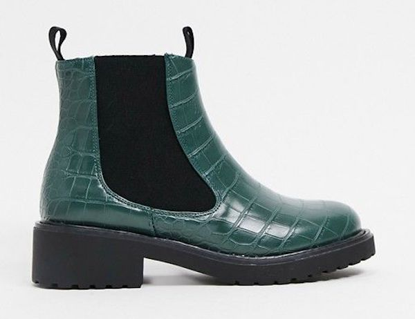 Wide-fit Chelsea boots in dark teal.