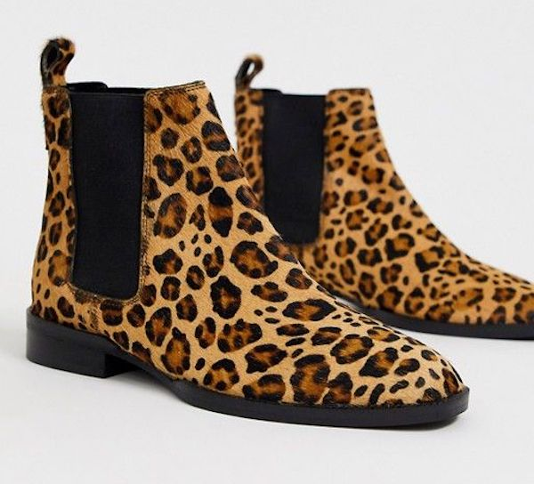 Wide-fit Chelsea boots in leopard print.