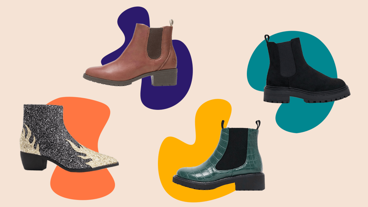 Gray glitter wide-fit Chelsea boots, brown wide-fit Chelsea boots, dark teal wide-fit Chelsea boots, and black wide-fit Chelsea boots.