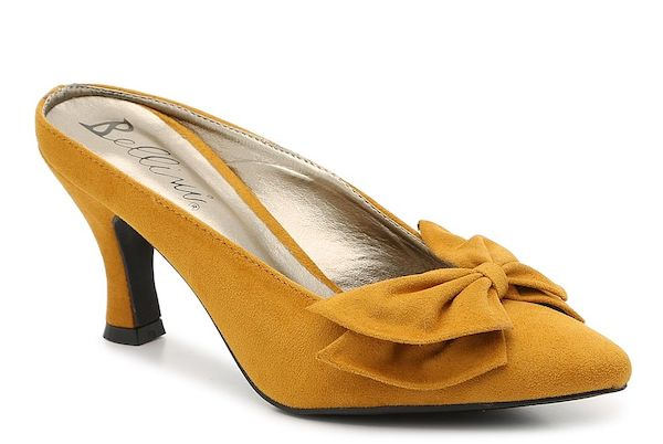 Mustard yellow wide-fit heels.