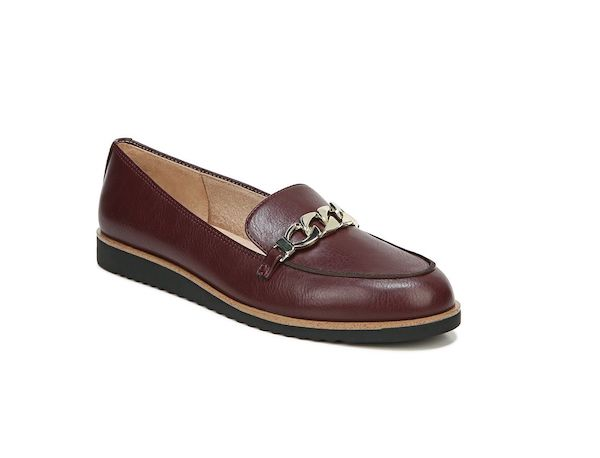 Wide-fit loafers in brown.