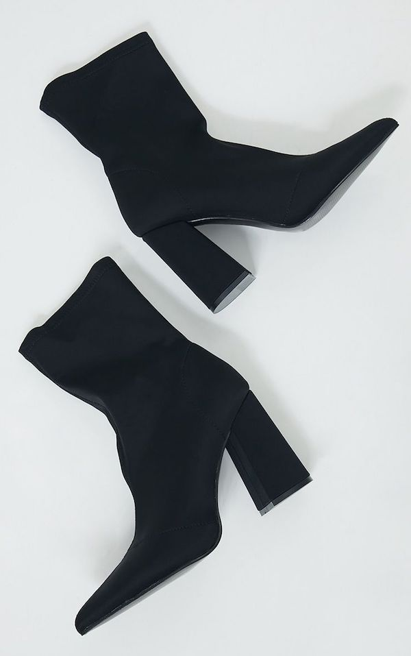 Wide-fit sock boots in black.