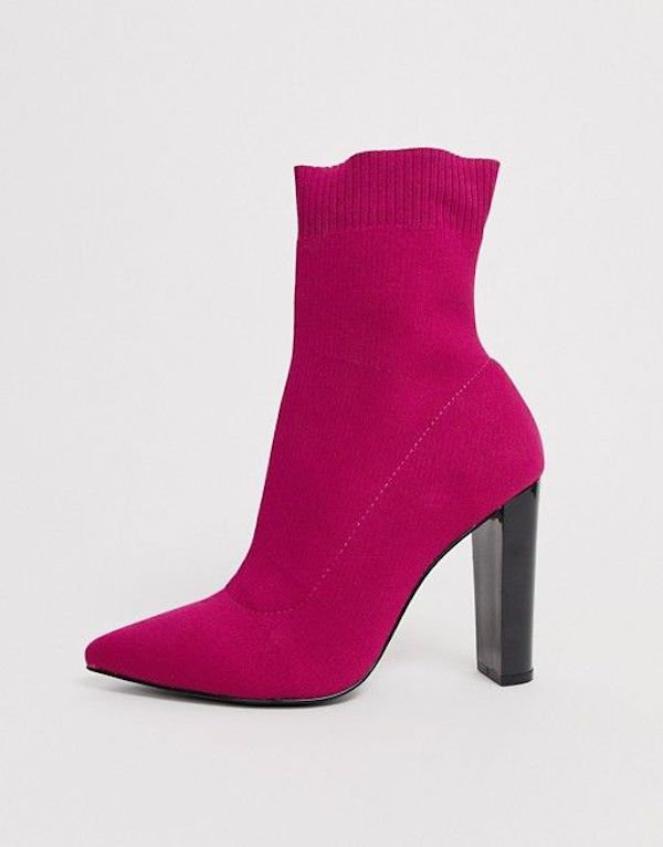Wide-fit sock boots in magenta.