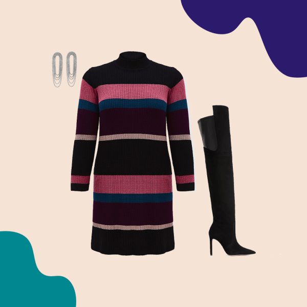 A striped sweater dress in black, purple, and blue, thigh-high black boots, and silver earrings.