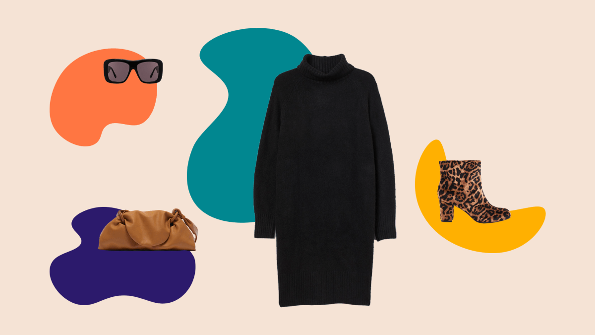 A black sweater dress, black sunglasses, brown clutch bag, and leopard print booties.