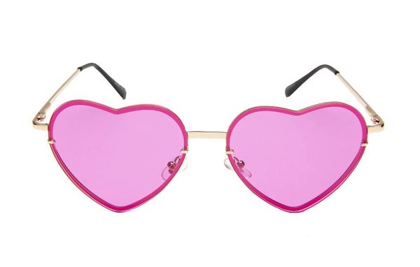 A pair of heart-shaped sunglasses in red and pink.