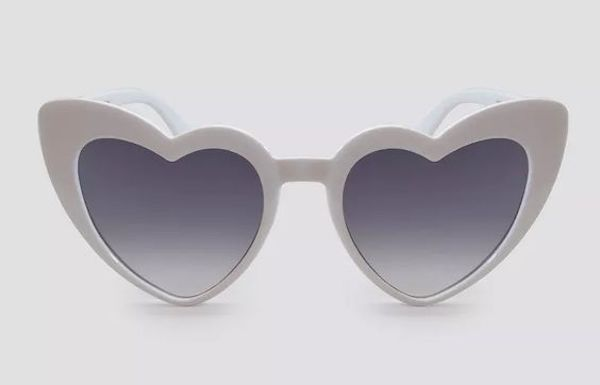 A pair of heart-shaped sunglasses in gray.